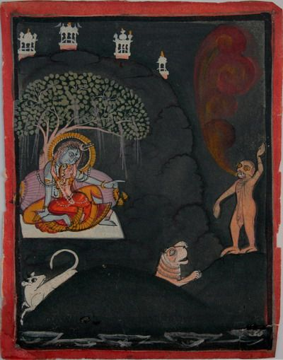 """""""Scene from a Shiva Purana. Shiva, Parvati, their vahanas (mounts/vehicles) and Andhaka asura. Mewar. Circa 1820-40. The demon may very well be 'Andhaka'/ 'Andhakaasura'. The name 'andhaka' is derived from 'andhakaara' (darkness). The story goes that the world was plunged into darkness when Parvati playfully sneaked up from behind and covered Shiva's eyes. It was during this time that the demon was born."""" Collection of Peter Blohm."""