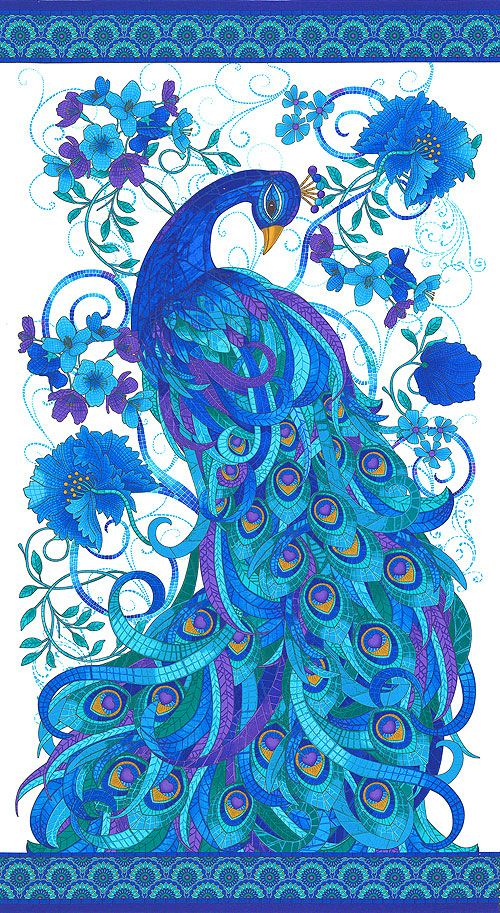 "Mosaic Plume - Tiffany Peacock - White - 24"" x 44"" PANEL                                                                                                                                                                                 More"