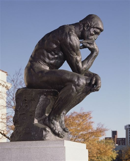 """The Thinker / Le Penseur"" -  Detroit Institute of Arts, Detroit, Michigan. Sculptor: François-Auguste-René Rodin,"