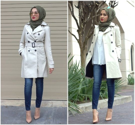 trench coat with hijab