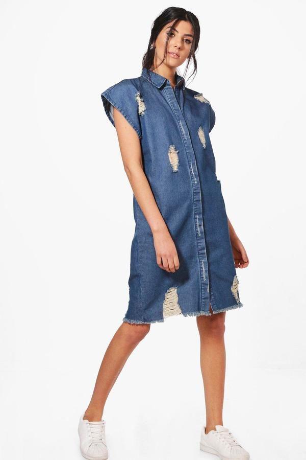 boohoo Heidi Oversize Short Sleeve Denim Shirt Dress