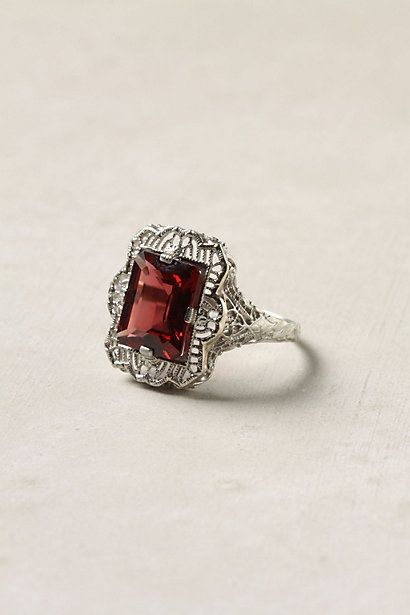 Garnet filigree ring. Anthropologie.