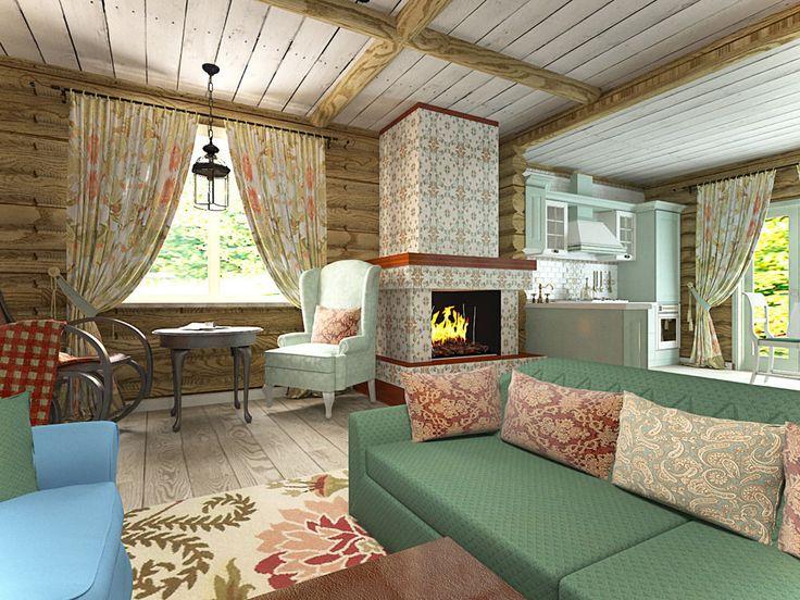 Обои с цветочным узором, тканевые полотна с фотопечатью и яркая мебель на фоне бревенчатой отделки стен и потолка – смотрим, как дизайнер поиграла с оформлением дома в современном русском стиле