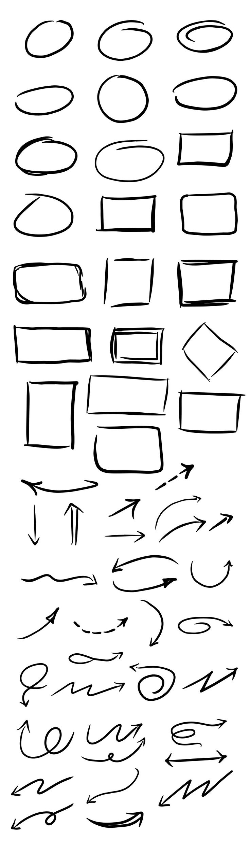 Free Hand-Drawn #Vector Circles, Squares And #Arrows #PSD
