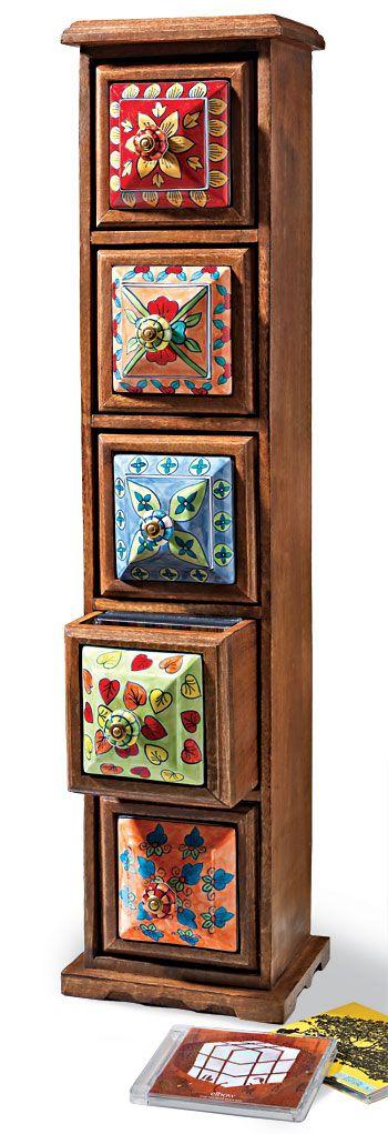 5 drawer ceramic cd chest, mango wood