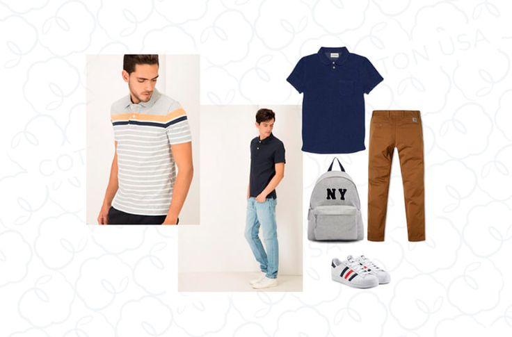 En la imagen aparecen dos modelos vistiendo camisetas tipo polo y al lado varias prendas de algodón: un morral, pantalón en dril y camiseta tipo polo