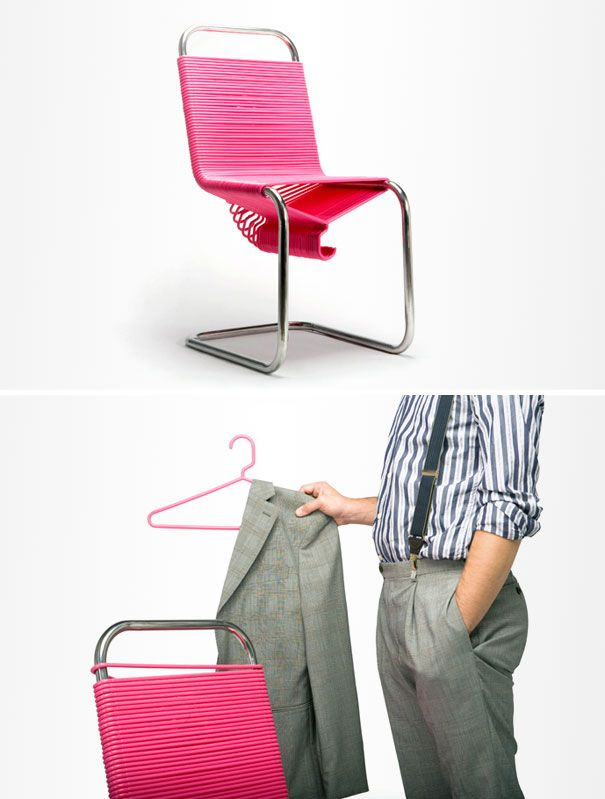 Coat Check is a chair design that seeks to encourage people to hang their coats up properly. The design simply appropriates the plastic hangers and the steel bar from a standard closet and creates a chair from those elements. (Designed by: continuum)