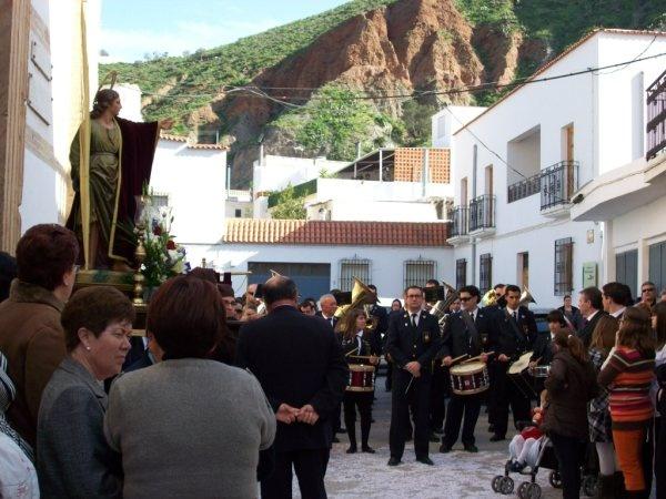 San Juan junto a la Banda de Música la Mezquita. Alboloduy. Alpujarra. Semana Santa.