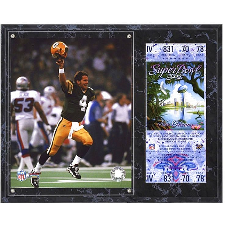 "Brett Favre Green Bay Packers Fanatics Authentic 12"" x 15"" Brett Favre Super Bowl XXXI Sublimated Plaque with Replica Ticket - $31.99"
