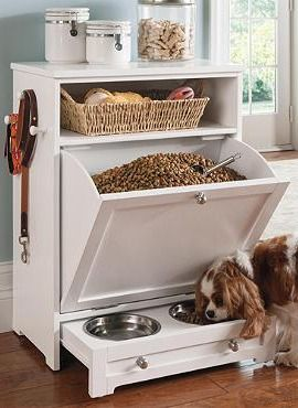 Pet food storage, toy basket, lead rack, treat shelf, and pull out food bowls (Although the food bowl holder could easily be a permanent fixture rather than a drawer).