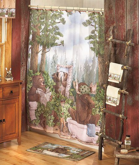 In The Woods Shower Curtain Lodge Decor This Delightful Collection Portrays Wildlife Endearing Situations Creating A Humorous View Of