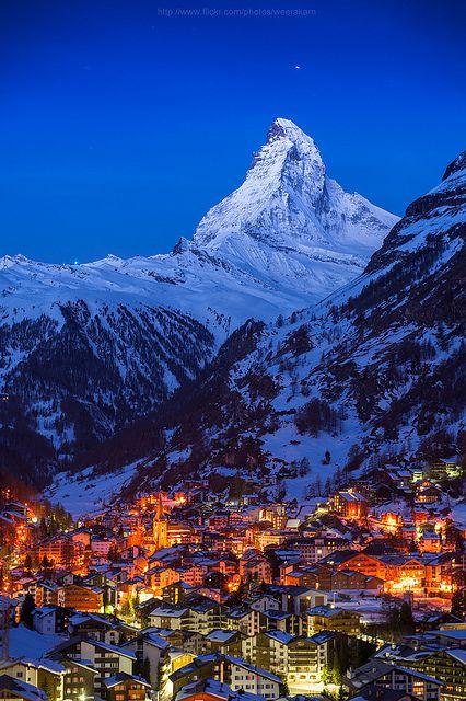 Good night Matterhorn By Weerakarn Satitniramai, taken in Obere Matten, Canton of Valais, CH, Zermatt, Switzerland, on May 25, 2012.