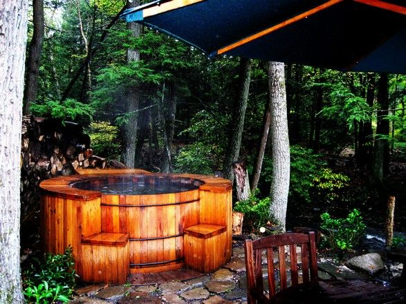 See, this is why I need to make the flagstone path I will never make. So I can have a beautiful outdoor hot tub in the woods that I don't have.