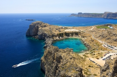 St. Paul's bay in Lindos Rhodes Island.  Can't wait till May and villa near Lindos!