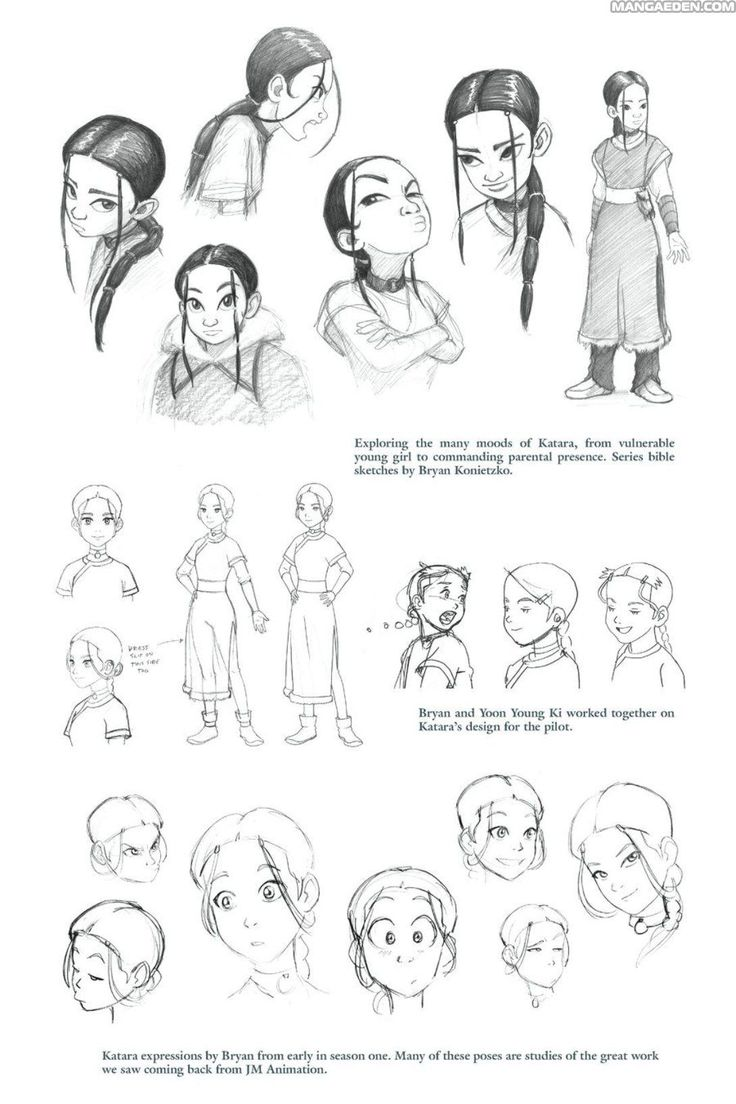 Avatar Last Airbender Character Design : Katara expressions by bryan from early season one quot manga