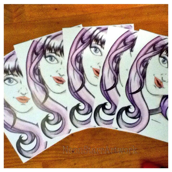 Purple haired girl prints