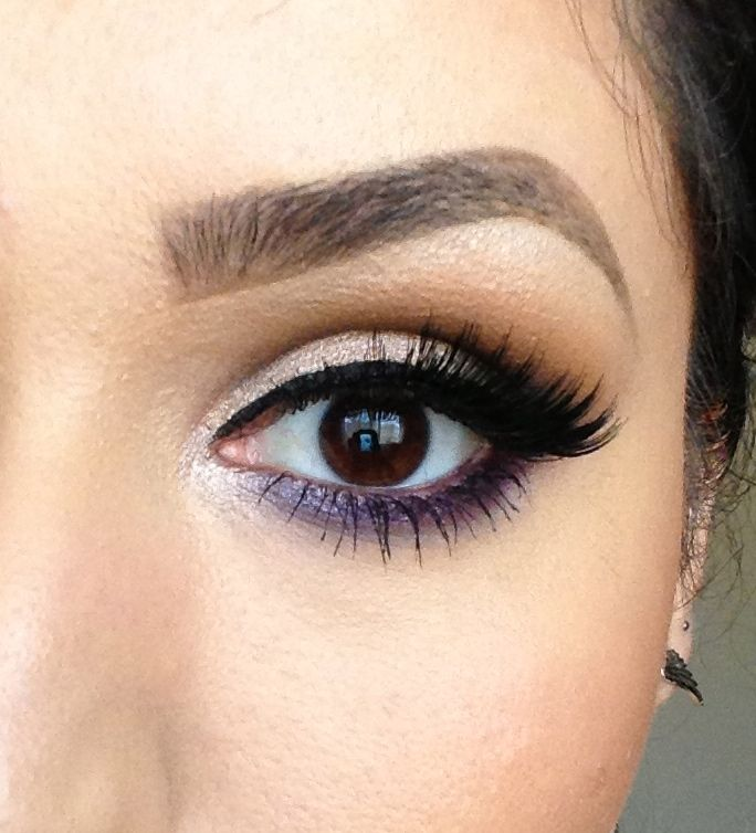 neutral eye with a pop of purple ~ we ❤ this!  moncheribridals.com ~ #weddingmakeup