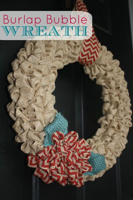 Burlap Bubble Wreath - LOVE LOVE this - going to make this for my next front door wreath. I still have a few of the foam plumbing pipe cover things I bought at Home Depot from when Charity and I made a  wreath with the paper coffee filters.  Much cheaper than buying the ready-made wreath styrofoam doohickeys....:-)