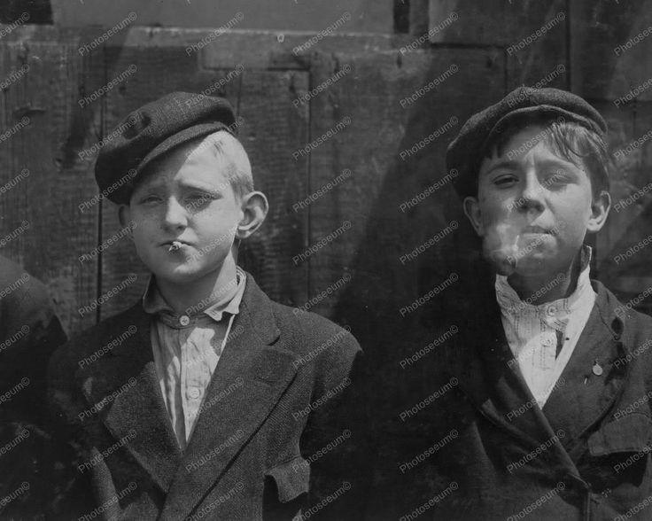 Smoking Newspaper Boys! 1900s Vintage 8x10 Reprint Of Old Photo