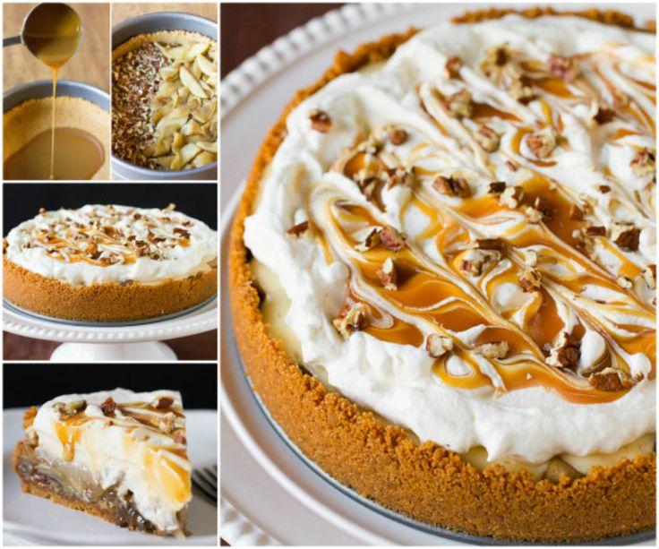 Salted Caramel Apple Cheesecake Pie