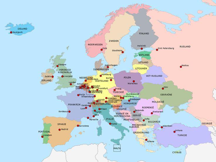 Via deze link kun je op 6 verschillende manieren oefenen met de topo van Europa.