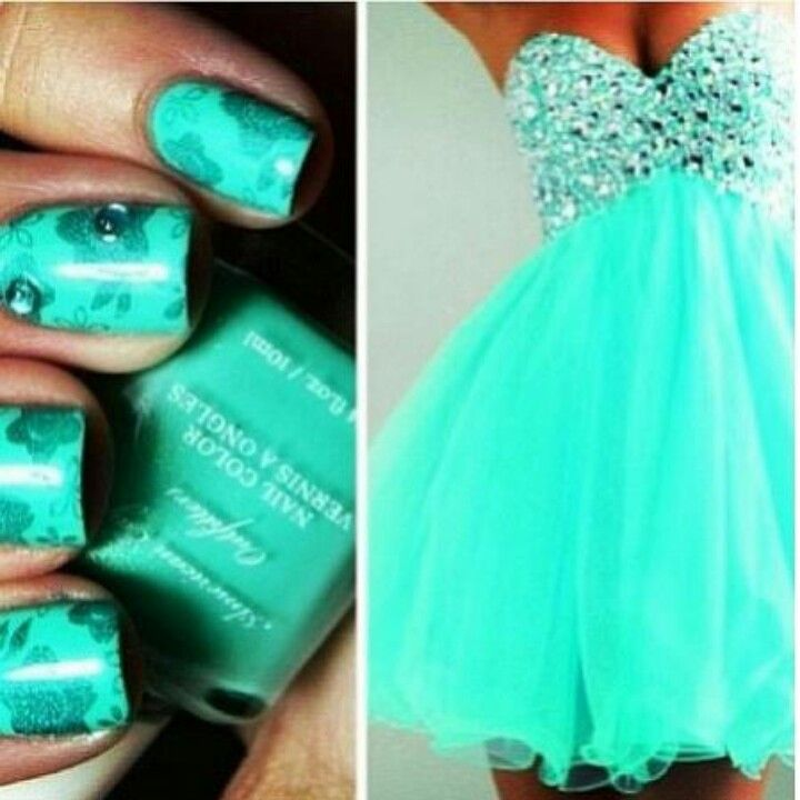 teal dress and matching nails