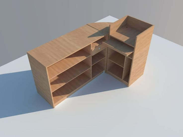 Parte posterior conjunto mostrador con modulo caja completo. www.shelf2000.es