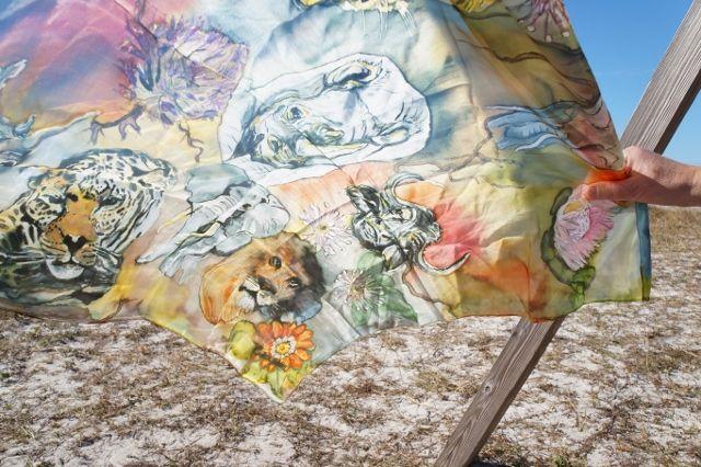Africas Big 5 - Luxury hand painted silk scarf. #big5 #luxurysilkscarf #silk #art #caritakdesign #caritaholmbergdesign #wearableart #rhino #elephant #leopard #buffalo #lion