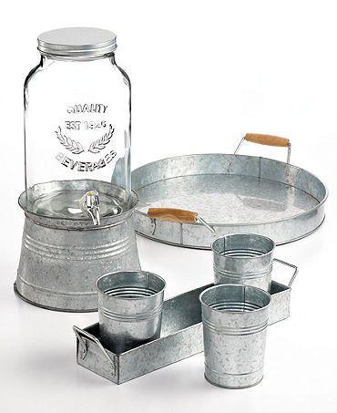 outdoor party perfect is this rustic tin collection #weddingchickspicks #macys #partyessentials http://www1.macys.com/shop/wedding-registry/product/artland-oasis-galvanized-tin-collection?ID=790163&cm_mmc=BRIDAL-_-CARAT-_-n-_-WCPinterest