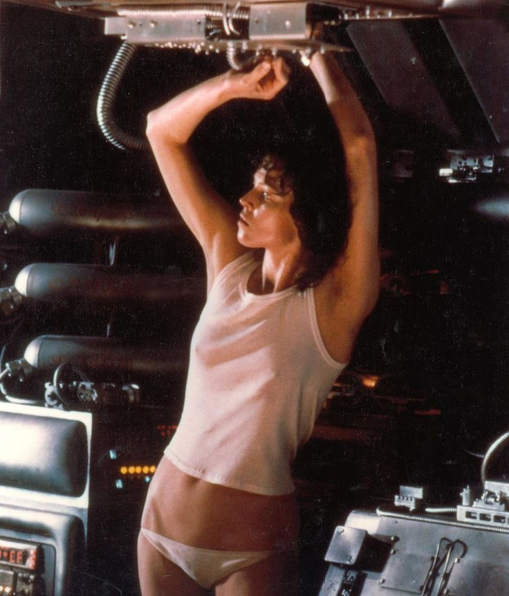 "Sigourney Weaver as Ripley in Alien, 1979.  I found this shot on a blog that argues Ripley is not ""sexualized"" here, that ""when she strips at the end of the film to a tank top and underwear it is more about the vulnerability of Ripley rather than a moment of titillation for the audience.""  What the hell, lady?  Every man I've been with has credited this scene with kick starting his teenage libido."
