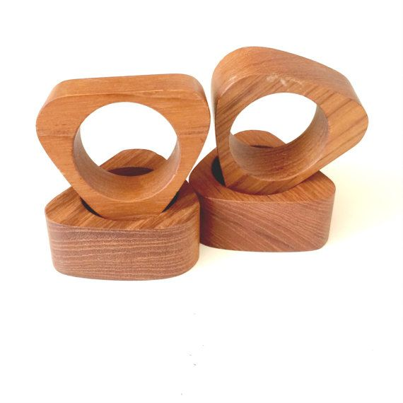Midcentury Modern Wooden Napkin Rings by RoryLaRueVintage on Etsy