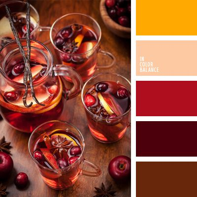 This warm color palette based on a combination of burgundy, red and yellow colors. Some contrast creates are brown.  This palette can be used successfully with the design of bars and restaurants. Curtains using these colors perfectly decorate and interior room.  These colors are suitable for a cocktail dress.