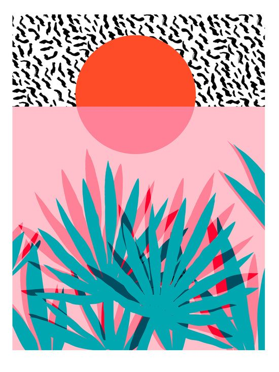 Dreamy sunset print :) // #print #illustration #colour #shape #pattern #plant #losangeles #design #inspiration