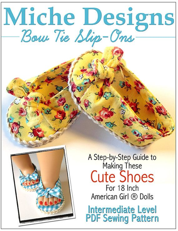 Miche Designs Bow Tie Slip-On Doll Shoe Pattern for 18 inch American Girl Dolls - PDF