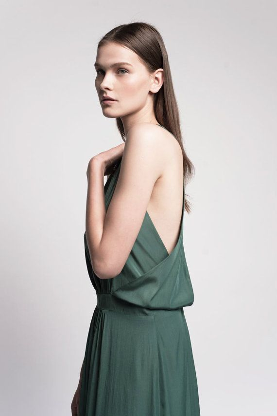 SALE 15 Emerald green maxi open back evening dress by Lennyfashion, $180.00