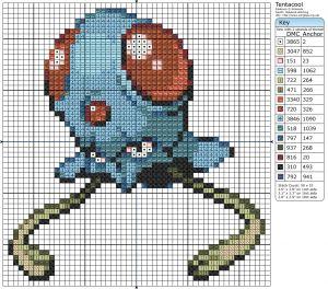 Birdie Stitching Pokemon Pattern - 72 Tentacool