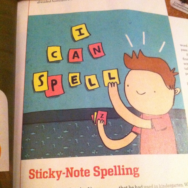 Spelling with sticky notes