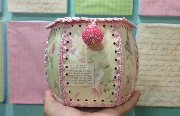 DIY trinket box, hanky box, cardboard and scrapbook paper crocheted box