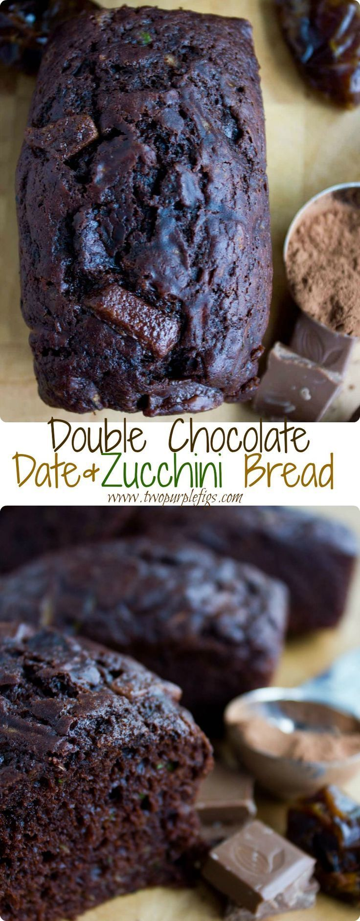 Double Chocolate Date Zucchini Bread. HEALTHY divine and intense chocolate flavor in a tender melt in your mouth, smooth date and zucchini bread studded with chocolate chips. Chocolate lovers--Get the recipe for this ultimate chocolate bread! www.twopurpl