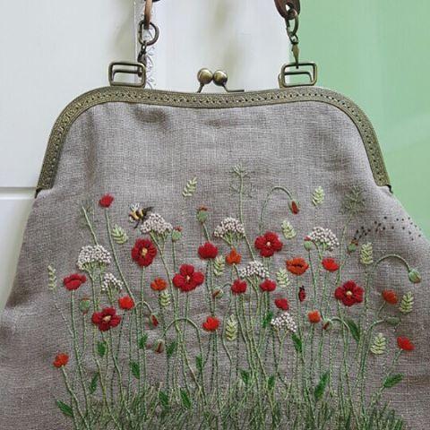 Pretty embroidered linen purse