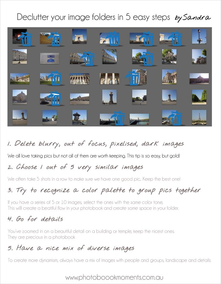 How to declutter your image folder in 5 easy steps!  Tips by Sandra at Photobook Moments www.photobookmoments.com.au https://www.facebook.com/photobookmoments