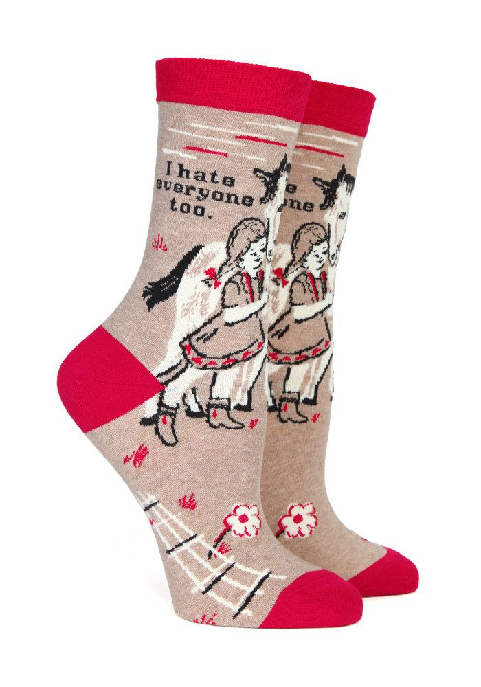Socks tailor made for all the haters out there - sometimes everyone needs a misanthropic horse for a friend.