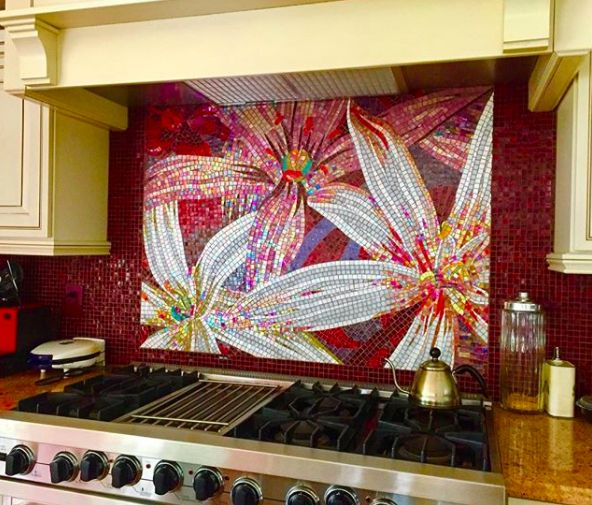 Adding #color to unique places can be so rewarding! This handmade mosaic was designed specifically for this kitchen. It is the focal point in the room, it's simply stunning!