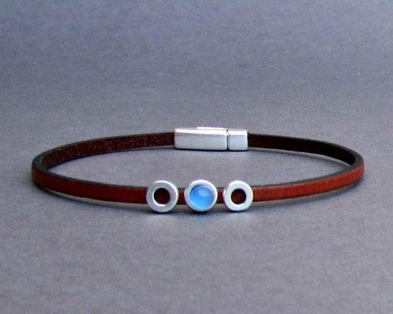 Gemstone Mens Leather Bracelet Tiny Bracelet Dainty by GUSFREE