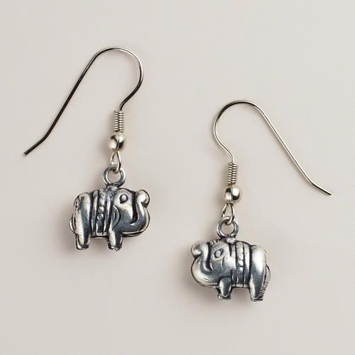 One of my favorite discoveries at WorldMarket.com: Silver Elephant Drop Earrings