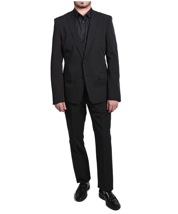 VERSACE Versace Collection Men Solid Two-Piece Polyester Suit Black'. #versace #cloth #suits