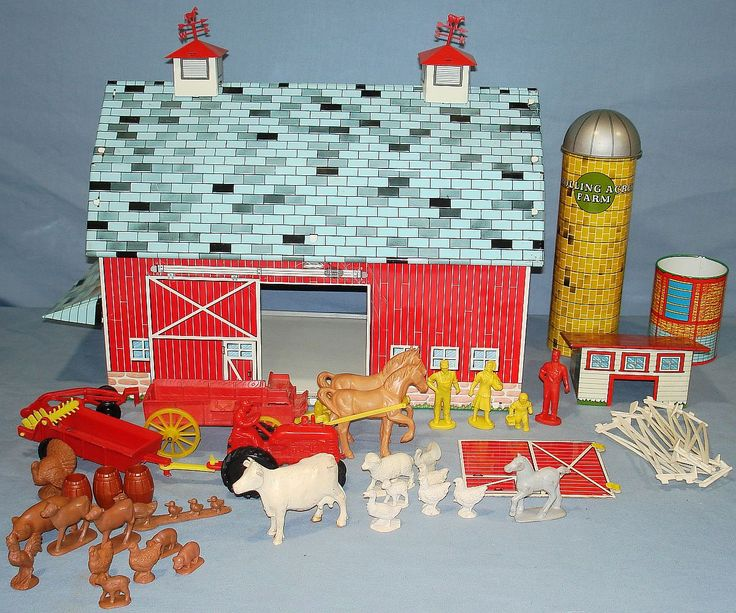 old toy metal barn with animals and more-- great centerpiece at a farm party