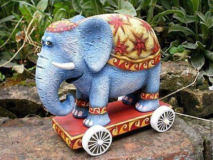#toy #elephant #Hand-painted #Souvenirs #wood #Miniatures #figurines. #ART #sculpture Игрушки животные, ручной работы. Слон Четыре-колеса, скульптура дерево ручная роспись. Виталий Корякин. Ярмарка Мастеров. Дерево