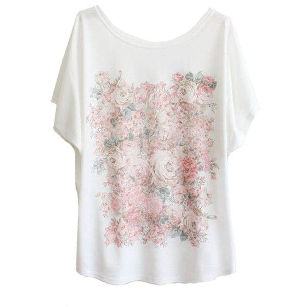 Sheinside Women's White Batwing Short Sleeve Flowers Print T-Shirt (€11) ❤ liked on Polyvore featuring tops, t-shirts, floral print t shirt, white t shirt, white floral top, floral tops and batwing tops