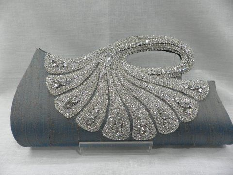 Peacock clutch / purse, soft grey and sparkles